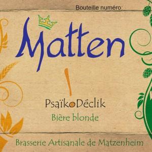 Bière Blonde Matten Psaikodéclik alsace